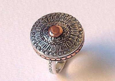 Sterling silver ring with copper detail