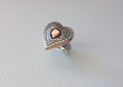 Sterling silver and copper heart shaped ring