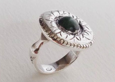 Sterling silver flower ring with jade cabochon