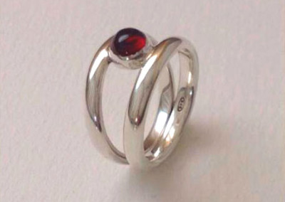 Sterling silver double banded ring