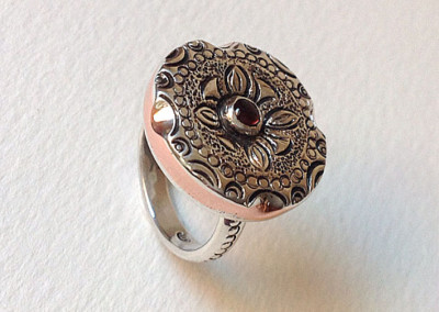 Sterling silver and copper flower ring